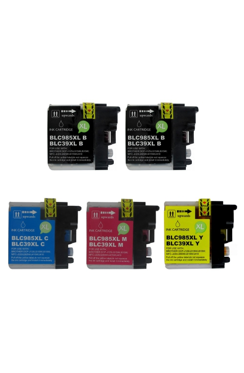 Pack de 5 cartouches d'encre BROTHER LC985