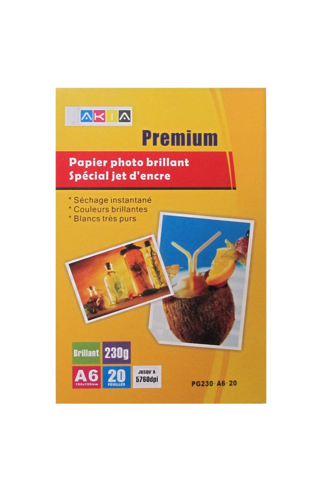 Papier photo brillant - A6 - 230 g - 20 feuilles