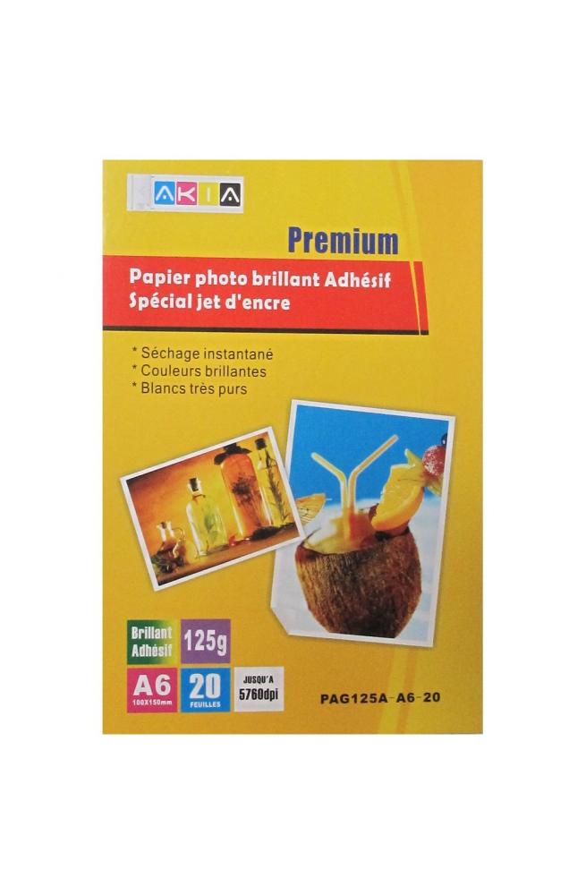 Papier photo brillant adhésif- A6 - 125 g - 20 feuilles