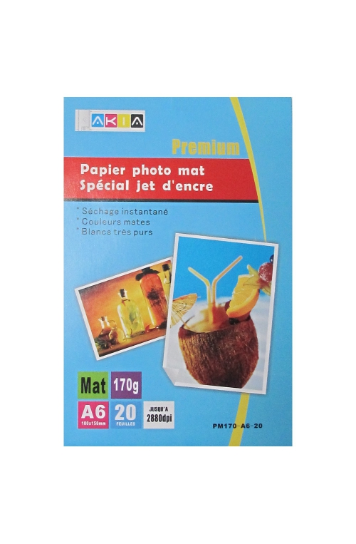 Papier photo mat - A6 - 170 g - 20 feuilles