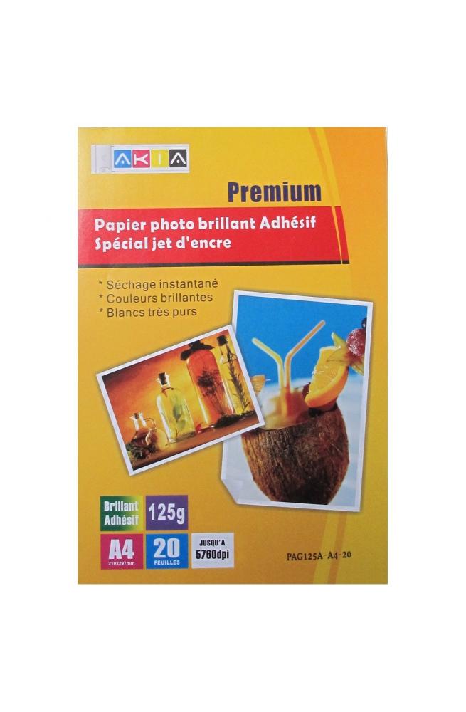 Papier photo brillant adhésif- A4 - 125 g - 20 feuilles